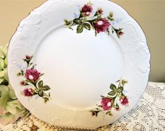 Plate Dinner Wawel Poland Porcelain Walbrzych Moss Rose Pattern Fine China blm