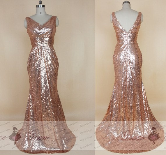 Rose Gold Prom Silvers: Rose Gold Sequin Bridesmaid Dress Mermaid Prom Dress