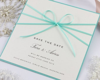 Ribbon Bow Save The Date Cards