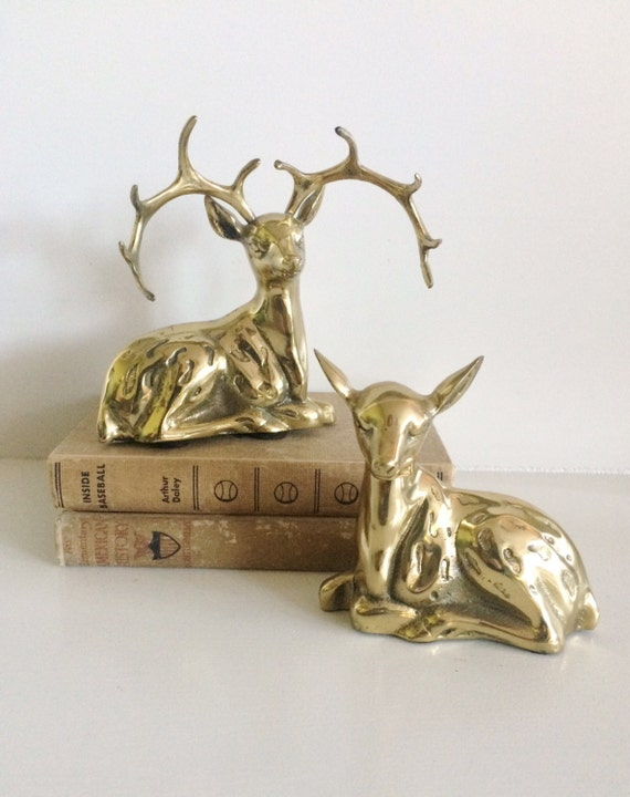 Vintage brass buck and doe set holiday home decor brass for Brass home decor