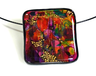 "Polymer Clay Pendant, Necklace, Handcrafted, OOAK, ""In Living Color II"" Series"