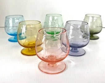 Vintage Shot Glasses. Set of 6 Small Multicolored Cut Crystal. Snifter Shape with Foot. Etched Floral Design.
