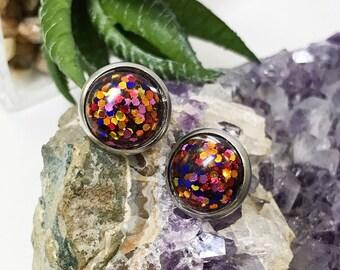 Autumn Sparkle Earrings | Sparkle earrings | galaxy earrings | crystal earrings | Glitter studs | hypoallergenic | geometric earrings