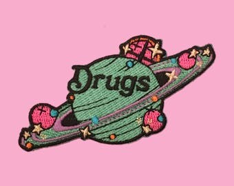 Drugs Saturn Embroidered Iron-On Patch