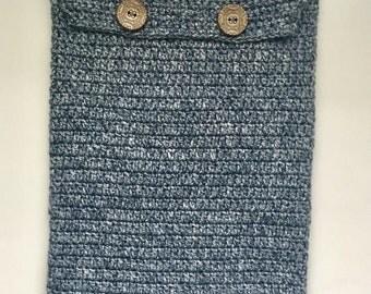 Crocheted I pad pro cover, blue denim cotton crocheted iPad Pro sleeve.