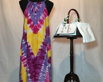 Tie Dye Cotton Sundress-Chevron