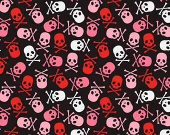Skulls and Crossbones on Black, Punk Sugar Skulls cotton fabric