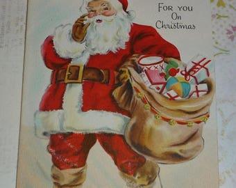 ON SALE Santa Claus Vintage 1946 Hallmark Christmas Card