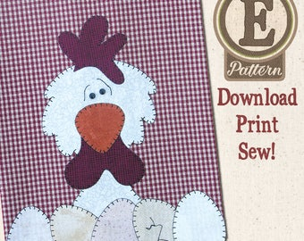 Chicken E-patternlet for Tea Towel
