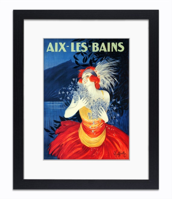 aix les bains french travel mounted framed vintage print from onawallnearyou on etsy. Black Bedroom Furniture Sets. Home Design Ideas