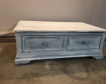 Large Shabby Chic White Distressed Coffee Table
