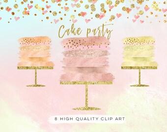 rose gold cake clip art, cake party clip art, confetti cake party clip art, Birthday clipart set watercolor, gold foil, rose gold wedding