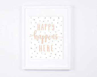 Peach and Grey Nursery Art Printable, Modern Typography Wall Art, Happy Happens Here Nursery Digital Print, Scandinavian Baby Room Decor