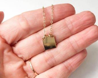 Tiny Gold Tag Necklace Gold Charm Necklace Dog Tag Necklace Gold Square Necklace Small Gold Pendant Necklace  Minimalist Jewelry