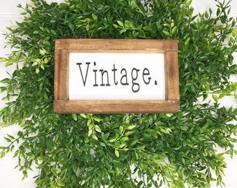 Mini Wood Custom Framed Sign (Vintage, Chippy, Tea, Bake, Home)