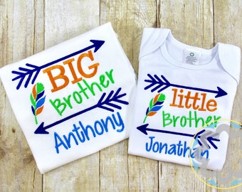 Big Brother - Little Brother Monogrammed - Personalized Shirts