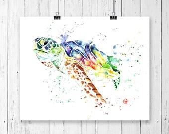 LARGE TURTLE PRINT, Sea turtle art, turtle watercolour, Sea Life, wildlife art, sea turtle watercolor, nursery art, Ocean Theme