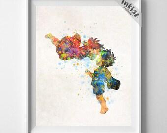 Ponyo, Ponyo Art, Ponyo Poster, Studio Ghibli, Ponyo Print, Watercolor Art, Ponyo on the Cliff, Hayao Miyazaki, Kid Nursery, July 4th