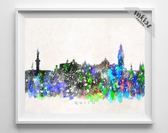 Quito Skyline, Print, Watercolor Painting, Ecuador Poster, Cityscape, Wall Art, Home Decor, City Skyline, Giclee Art, 4th of July