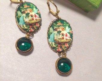 Beautiful vintage assembled earrings in a collaged gift box - kissing spring fairy earrings -  casual green dangle earrings with fairies