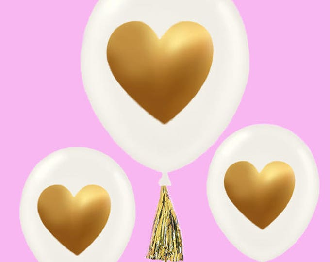 Heart Balloons, Bridal Shower Centerpiece, Bridal Balloons, White Gold Balloons, Gold Heart Balloons, Baby Shower Balloons, Baby Shower