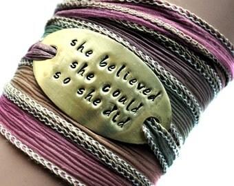 Silk wrap bracelet-silk ribbon bracelet-boho jewelry-she believed she could so she did -choose ribbon-seidenband-ruban de soie-
