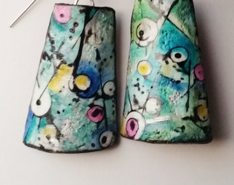 "Earrings, ""Seabed..."", polymer clay, mokume gane, unique, handmade, original design"