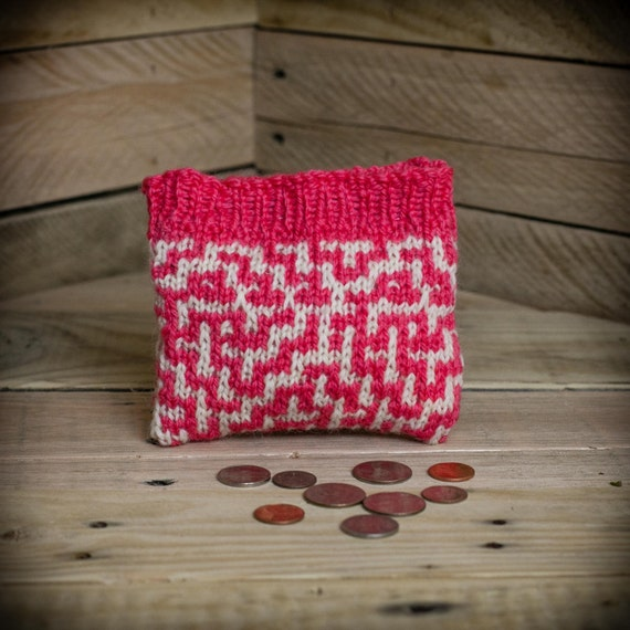Purse Knitting Patterns For Beginners : Loom Knit Change Purse, Wallet, Make Up Bag, Wristlet, Credit Card Holder Loo...