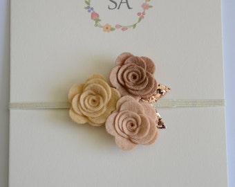 Neutral Colors Trio Felt Flowers Headband - Nylon Headband - Ivory Headband