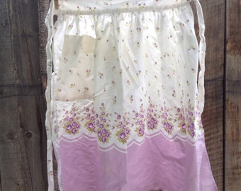 Vintage flowers purple green half apron
