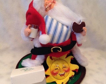 Annalee Doll Society Logo Kid Santa Claus Eating A Cookie With Pins & Tags 1994