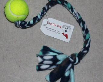 Navy/Teal/White Pawprint Braided Fleece Rope Pull Toy with Tennis Ball for Dog