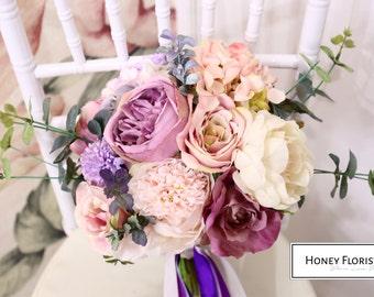 Handmade Custom Purple Violet Silk Flower Wedding Bouquet- Peony , Garden Rose, Hydrangea, Ribbons