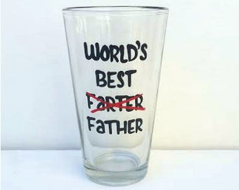 World's Best Farter Father handpainted beer pint glass /gifts for dad/ best dad ever beer mug