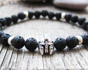 Mens Bracelet Black lava bracelet Boyfriend Gifts for brother Gifts Stones Bracelets Athletic Bracelets Balance Bracelets Helmet bracelets