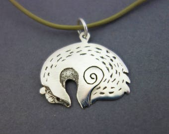 badger necklace, silver badger, sleeping badger pendant, animal necklace