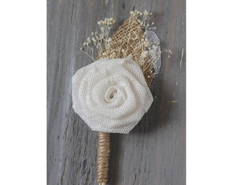 White Rustic Boutonniere Groom Boutonniere Groomsman Boutonniere Burlap Boutonniere Mens Wedding Boutonniere  Weddings Accessories