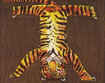 funny tiger wild animal handstand trick cute children's illustration retro nursery decor Brian Wildsmith 8 x9 inches