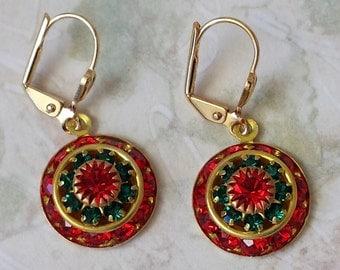 Crystal Christmas Earrings Swarovski Red and Emerald Earrings Christmas Rhinestone Earrings Holiday Christmas Earrings Red and Green Earring