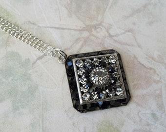 Black Crystal Rhinestone Necklace Art Deco Necklace Pendant Crystal Necklace Black and Crystal Rhinestone Silver Necklace Vintage Necklace