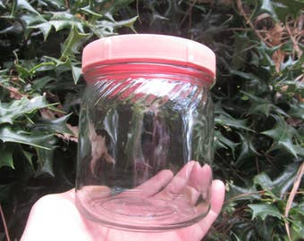 Glass Jar - Clear Glass Jar - plastic lid -Vintage Jar -