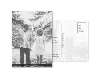 Wedding Save the Date Postcard Template Photo Save the Date Card Digital Download