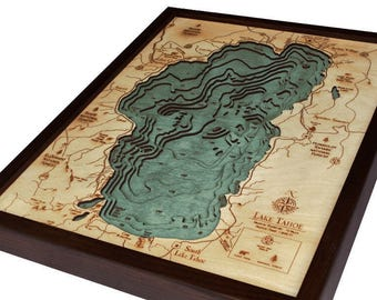 Lake Tahoe Wood Carved Topographical Depth Map