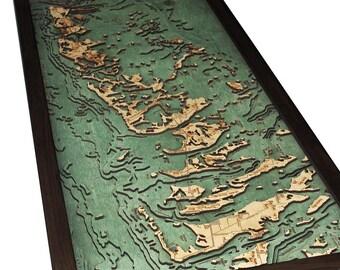 Florida Keys Wood Carved Topographic Depth Map