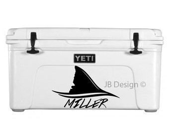 Shark Fin Decal For Yeti Cooler or Similar - Custom Text Included