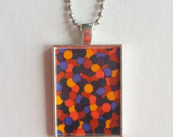 Plum Drops Charm, Purple Orange, Resin Pendant, Abstract Jewelry, Colorful Necklace, Modern Art, Yellow Tangerine, Gift For Her, Geometric