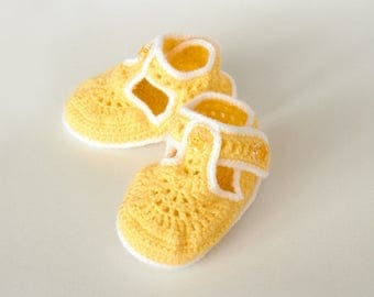 Yellow Handmade Crochet Baby Girl Booties (9-12 mo)