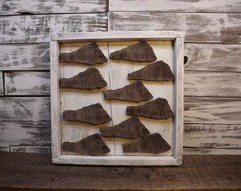 "Abstract Wood Slice Wall Art Panel - ""The School"""