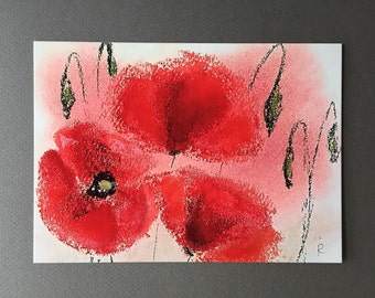 """Poppies #2. 5""""x7"""" Postcard with an white envelope."""