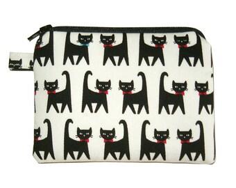 Bowtie Cat Coin Purse - Small Padded Pouch - Cat Purse - Children's Purse - Zippered Pouch - Kawaii Purse - Girl's Purse - Animal Purse